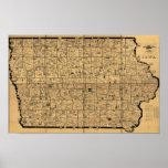 Mapa antiguo 1897 de las rutas de la entrega del c poster