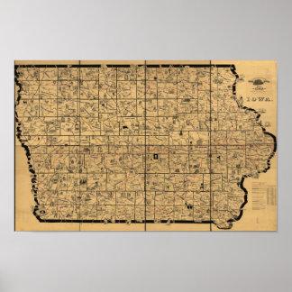 Mapa antiguo 1897 de las rutas de la entrega del c póster