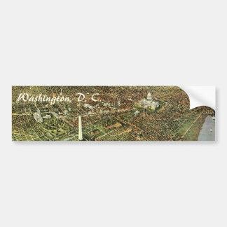 Mapa antiguo aéreo de la ciudad del vintage del etiqueta de parachoque