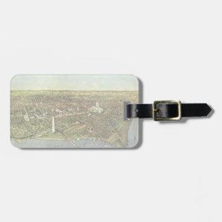 Mapa antiguo aéreo de la ciudad del vintage del etiquetas bolsa