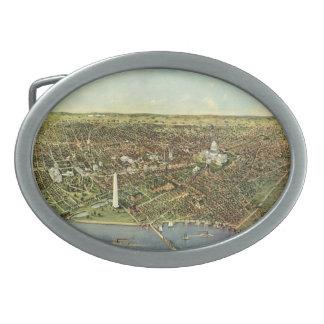Mapa antiguo aéreo de la ciudad del vintage del hebilla cinturón oval