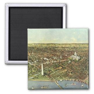 Mapa antiguo aéreo de la ciudad del vintage del imán cuadrado