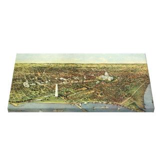 Mapa antiguo aéreo de la ciudad del vintage del impresion en lona
