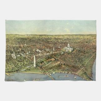 Mapa antiguo aéreo de la ciudad del vintage del toalla