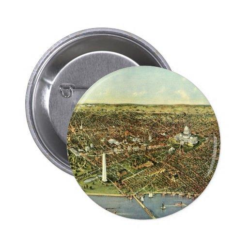 Mapa antiguo aéreo de la ciudad del vintage del pin redondo 5 cm