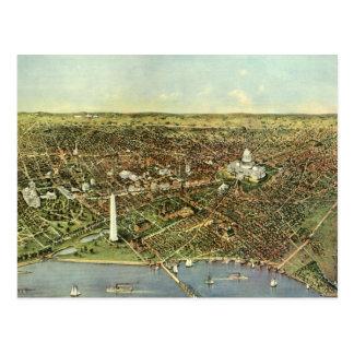 Mapa antiguo aéreo de la ciudad del vintage del postal