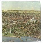 Mapa antiguo aéreo de la ciudad del vintage del servilletas imprimidas