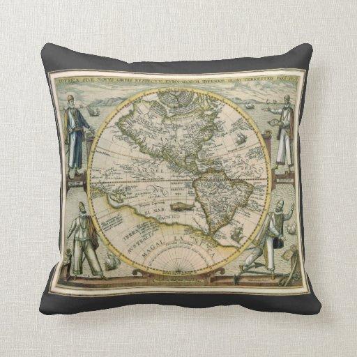 Mapa antiguo, América Sive Novus Orbis, 1596 Cojín Decorativo