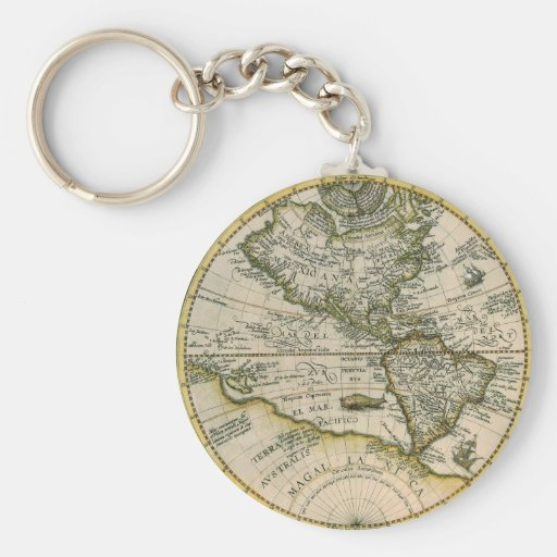 Mapa antiguo, América Sive Novus Orbis, 1596 Llavero Redondo Tipo Pin