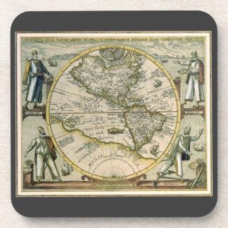 Mapa antiguo, América Sive Novus Orbis, 1596 Posavasos De Bebidas