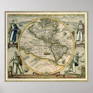 Mapa antiguo, América Sive Novus Orbis, 1596 Póster