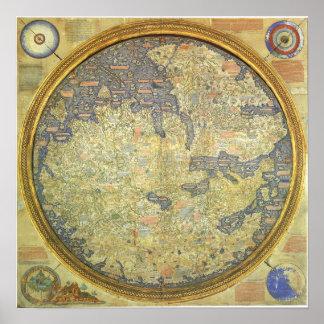 Mapa antiguo Asia África Europa del Fra Mauro Póster