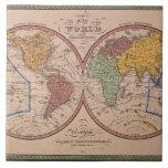 Mapa antiguo azulejo cuadrado grande