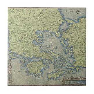 Mapa antiguo azulejo cuadrado pequeño