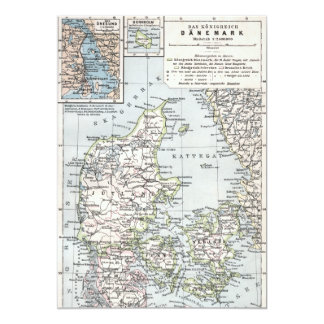 Mapa antiguo danés de Dinamarca, Danmark Invitación 12,7 X 17,8 Cm