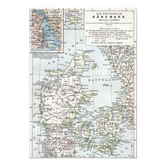 "Mapa antiguo danés de Dinamarca, Danmark Invitación 5"" X 7"""