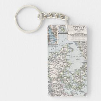 Mapa antiguo danés de Dinamarca, Danmark Llavero Rectangular Acrílico A Doble Cara
