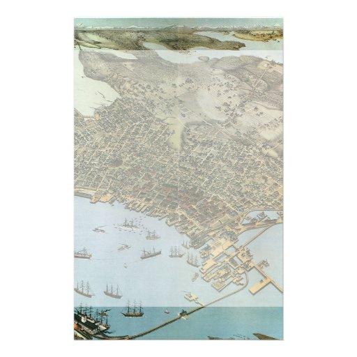 Mapa antiguo de Aeria del vintage de Seattle, Papelería