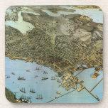 Mapa antiguo de Aeria del vintage de Seattle, Posavasos De Bebida