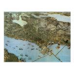 Mapa antiguo de Aeria del vintage de Seattle, Tarjetas Postales
