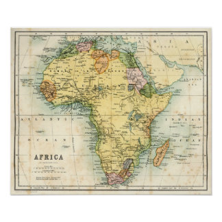 Mapa antiguo de África Póster