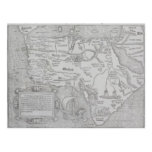 Mapa antiguo de África Tarjetas Postales
