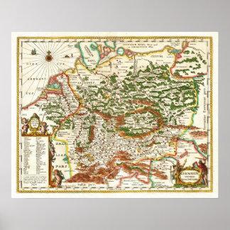 Mapa antiguo de Alemania C. 1657 Impresiones