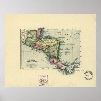Mapa antiguo de America Central - 1902 Impresiones