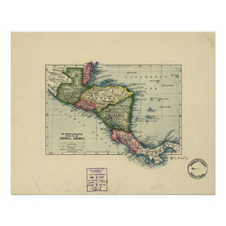 Mapa antiguo de America Central - 1902 Póster