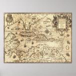 Mapa antiguo de America Central Poster