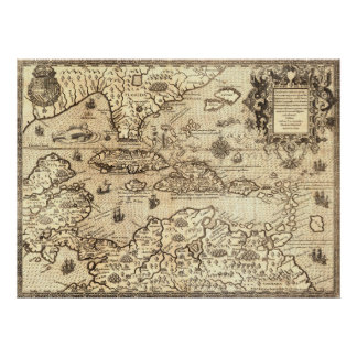 Mapa antiguo de America Central Póster