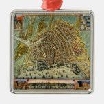 Mapa antiguo de Amsterdam, Países Bajos, Holanda Adornos De Navidad