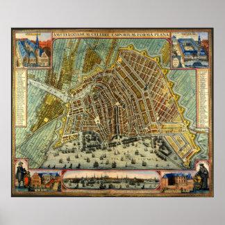 Mapa antiguo de Amsterdam, Países Bajos, Holanda Poster