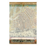Mapa antiguo de Amsterdam, Países Bajos, Holanda Papeleria
