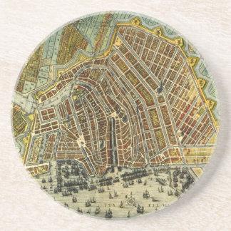 Mapa antiguo de Amsterdam, Países Bajos, Holanda Posavaso Para Bebida