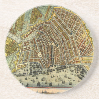 Mapa antiguo de Amsterdam, Países Bajos, Holanda Posavasos Diseño