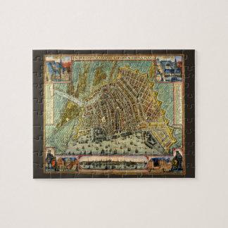 Mapa antiguo de Amsterdam, Países Bajos, Holanda Puzzle