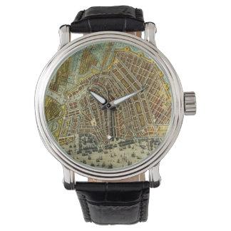 Mapa antiguo de Amsterdam, Países Bajos, Holanda Reloj
