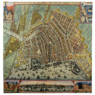 Mapa antiguo de Amsterdam Países Bajos Holanda Servilletas De Papel