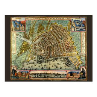 Mapa antiguo de Amsterdam, Países Bajos, Holanda Postales