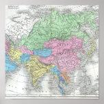 Mapa antiguo de Asia circa 1800s Poster