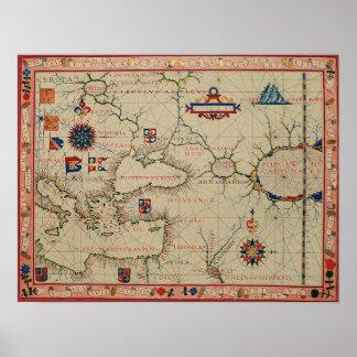 Mapa antiguo de Asia Menor Póster