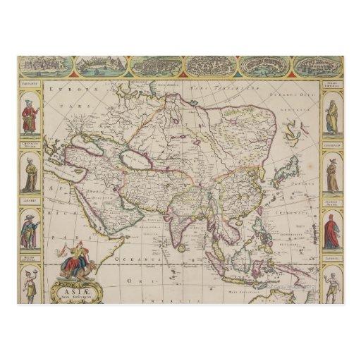 Mapa antiguo de Asia Postal