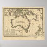 Mapa antiguo de Australia 1826 Poster