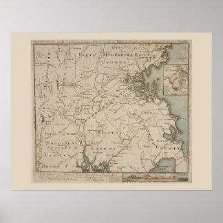 Mapa antiguo de Boston y de los alrededores 1775 Posters