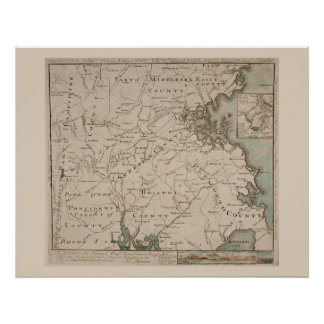 Mapa antiguo de Boston y de los alrededores 1775 Póster