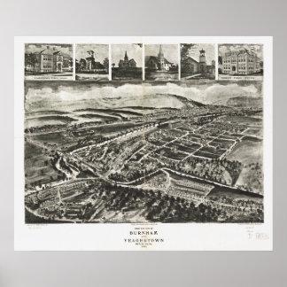 Mapa antiguo de Burnham Pennsylvania 1906 Panormic Póster