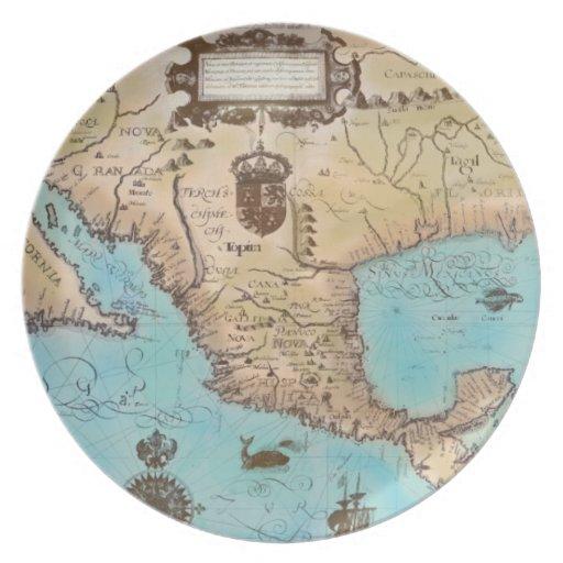 Mapa antiguo de California y de America Central Plato De Comida