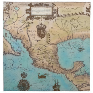 Mapa antiguo de California y de America Central Servilletas Imprimidas