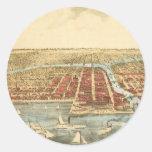 Mapa antiguo de Chicago, de la calle de LaSalle y Pegatina Redonda
